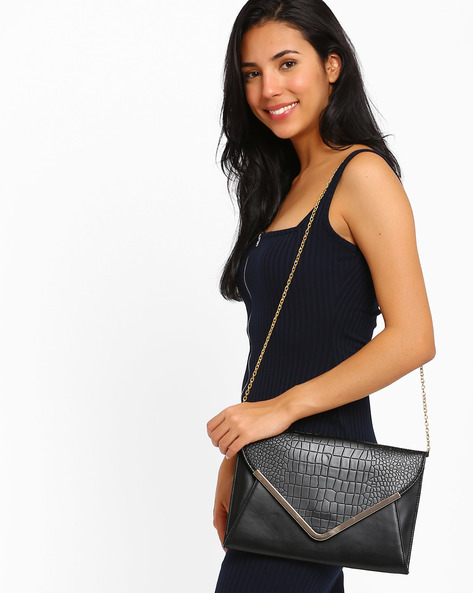 Envelope Sling Bag By AJIO ( Black )
