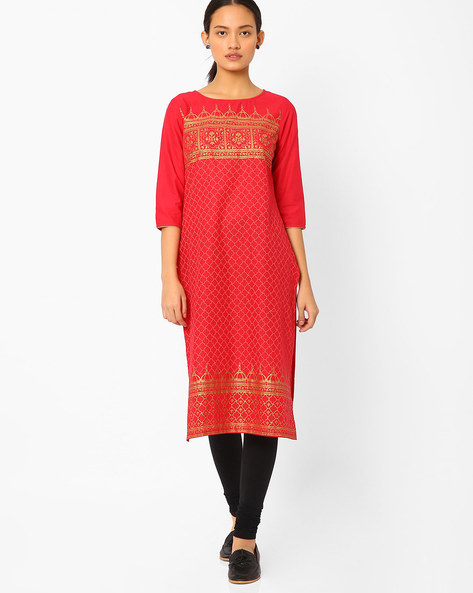 Straight Kurta With Foil Print By AURELIA ( Red )