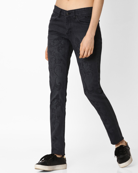Printed Skinny Jeans By Pepe Jeans ( Blue )