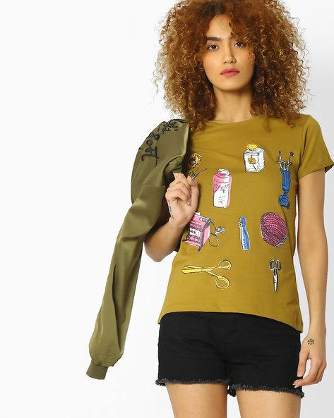 Printed Crew-Neck T-shirt By Blue Saint ( Khaki )