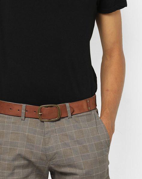 Genuine Leather Belt With Studded Trims By AJIO ( Tan )