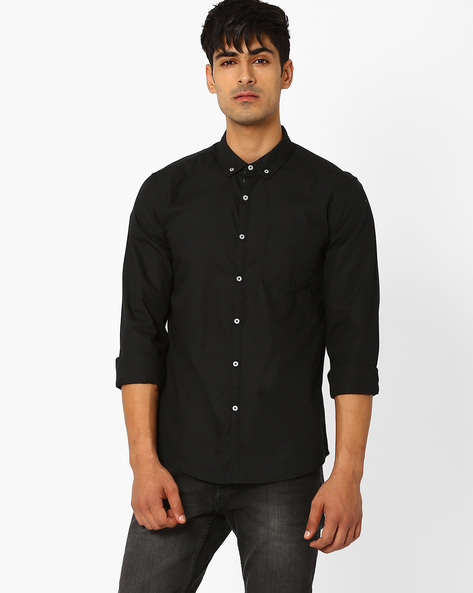 Slim Fit Shirt With Button-Down Collar By Lee ( Black )