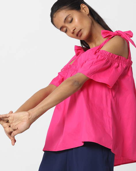 Cold-Shoulder Top With Tie-Ups By Ginger By Lifestyle ( Pink )