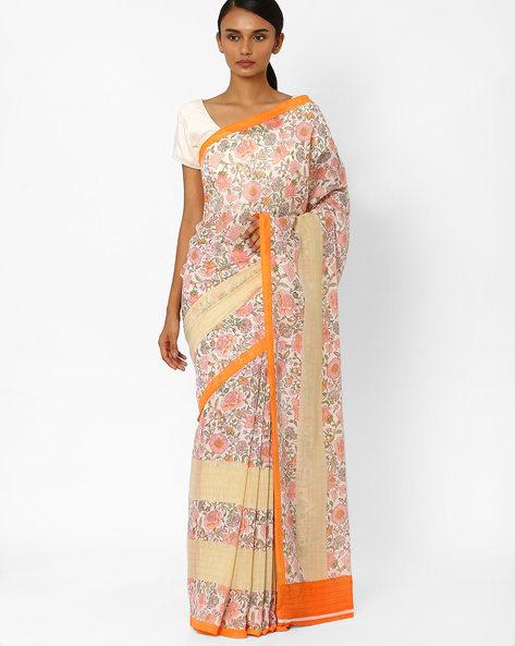 Floral Print Saree By Akoya ( Pink )