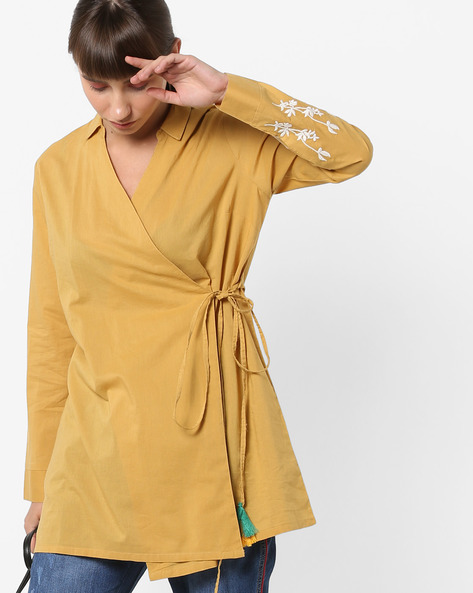 Overlap Tunic With Floral Embroidered Sleeve By AJIO ( Mustard )