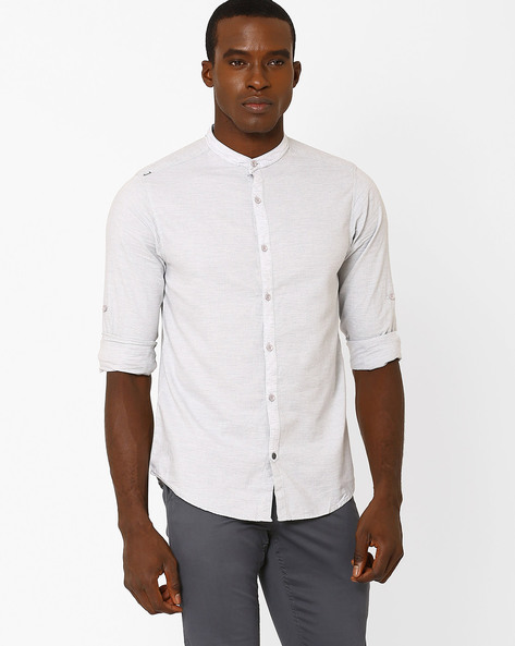 Slim Fit Shirt With Mandarin Collar By SPYKAR ( Lightgrey )