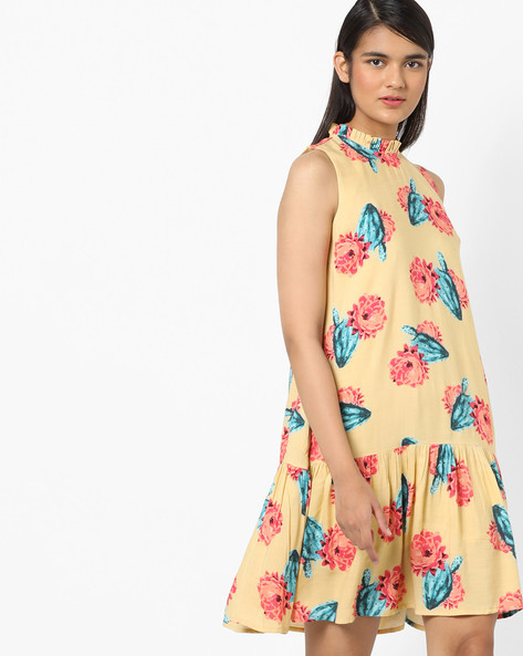 Sleeveless Printed A-line Dress By AJIO ( Beige )