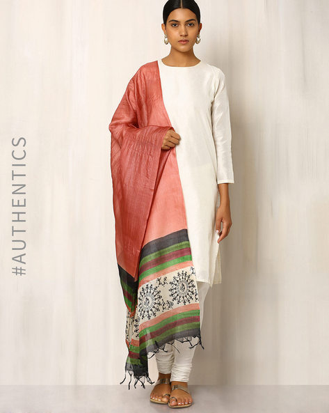 Handwoven Pure Kosa Silk Warli Print Dupatta By Indie Picks ( Peach )