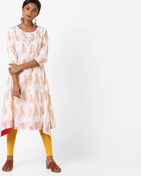 Printed A-line Kurta With Asymmetric Hem By AJIO ( White )