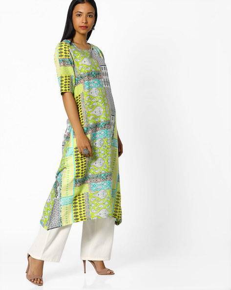 Printed High-Low Kurta By Melange By Lifestyle ( Lime )