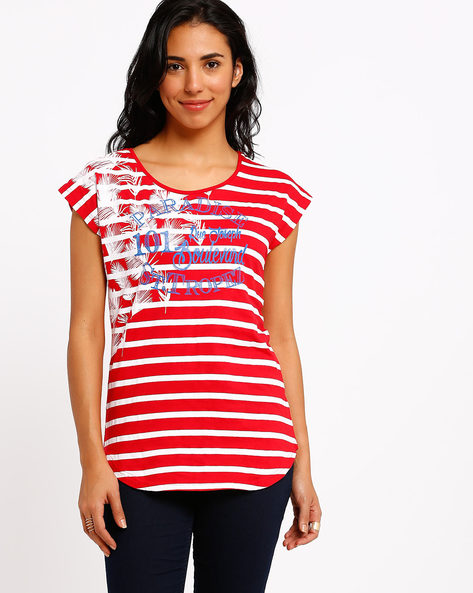 Graphic Print T-shirt By AJIO ( Red )