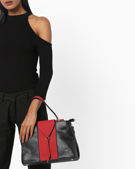Colourblock Panelled Hobo Bags By E2O ( Red )