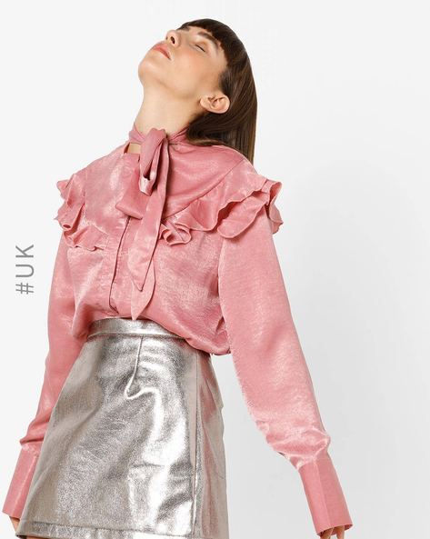 Ruffled Shirt Top With Neck Tie-Up By OEUVRE ( Blush )