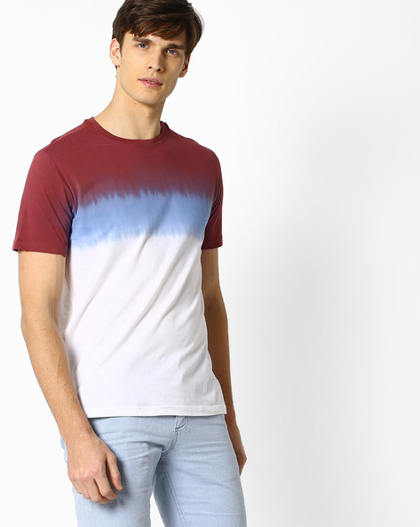 Ombre-Dyed Cotton T-shirt By DEEZENO ( Burgundy )