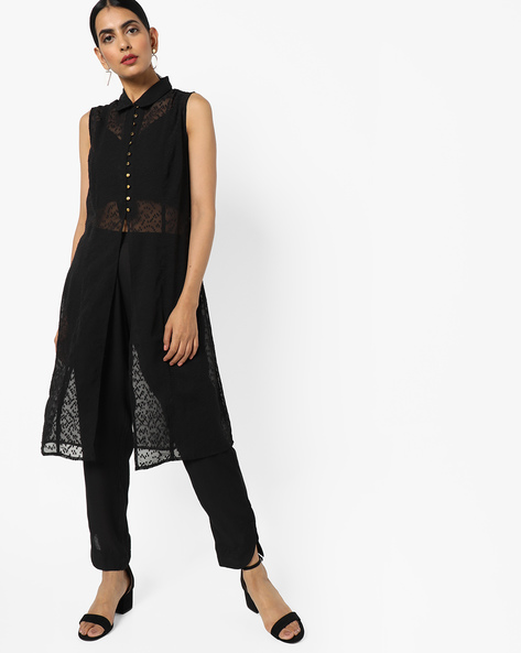 Shirt Tunic With Front Slit By AJIO ( Black )