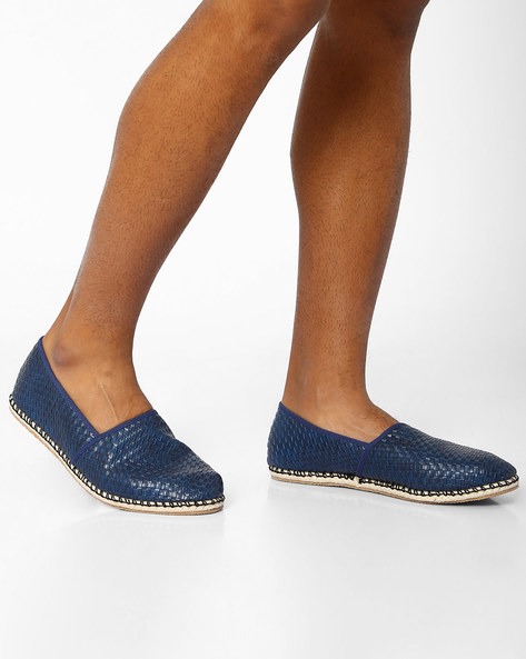 Basket-Weave Espadrilles By AJIO ( Navy )
