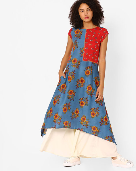 Floral Printed Kurta With Asymmetric Hemline By Global Desi ( Blue )