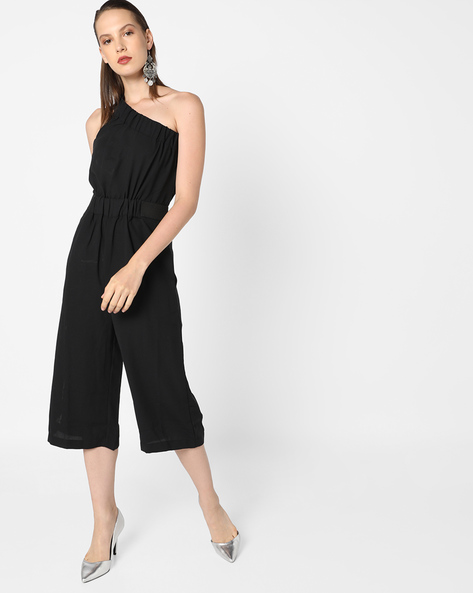 One-Shoulder Jumpsuit With Elastiction By AJIO ( Black )