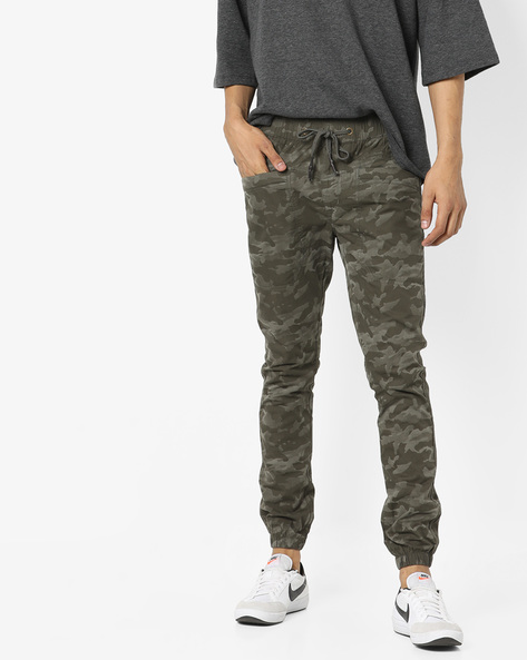 Camouflage Print Joggers By SPYKAR ( Olive )