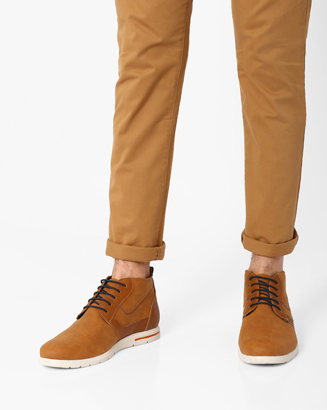 Faux-Leather Chukka Boots By AJIO ( Tan )