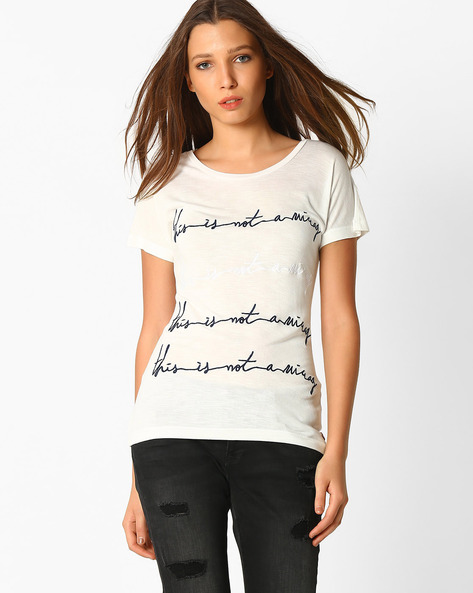 Crew-Neck T-shirt With Embroidery By DNMX ( White )