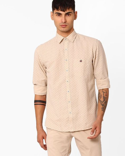 Printed Slim Fit Linen Shirt By CRIMSOUNE CLUB ( Cream )