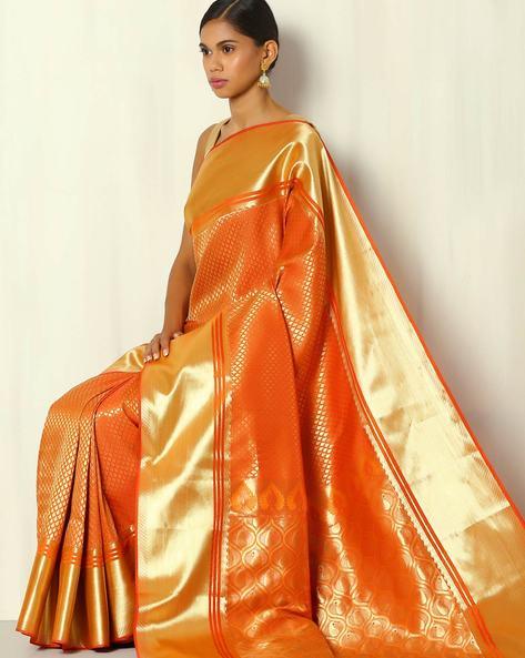 Brocade Pallu South Silk Saree With Zari Border By BANASURI ( Orange )