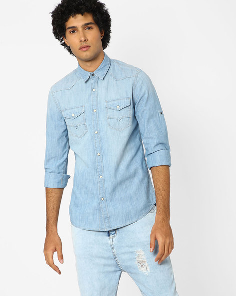 Slim Fit Cotton Shirt By Jack & Jones ( Blue )