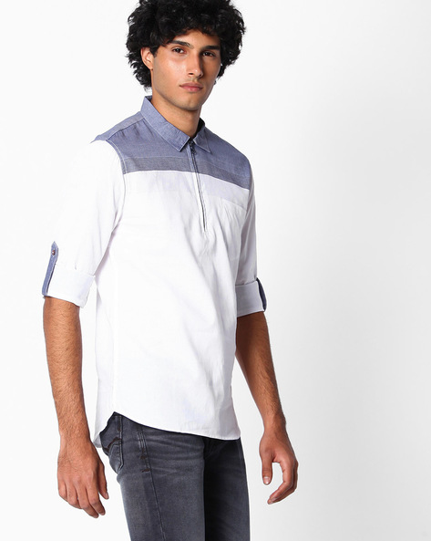 Cotton Slim Fit Shirt By The Indian Garage Co ( Navyblue )