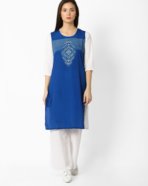 Straight Kurta With Digital Print By AVAASA MIX N' MATCH ( Blue )