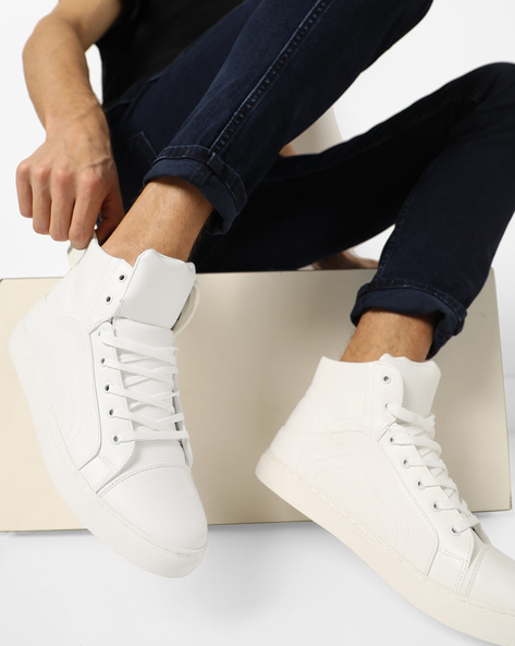 Panelled High-Top Lace-Up Sneakers By AJIO ( White )