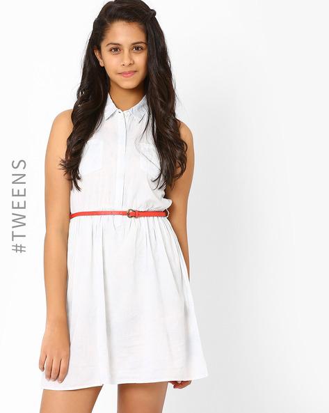 Shirt Dress With Belt By AJIO Girl ( White )