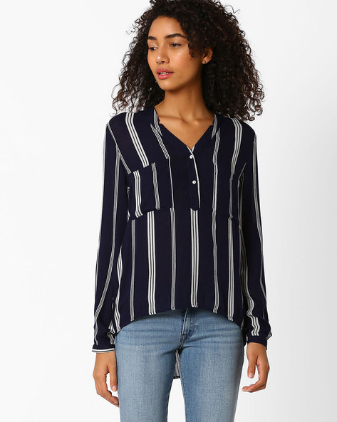 Striped High-Low Top By Only ( Blue )