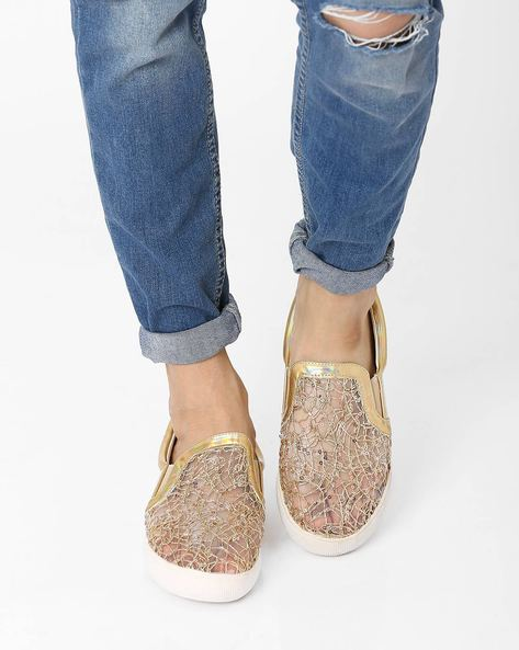Sequinned Casual Shoes By AJIO ( Gold )