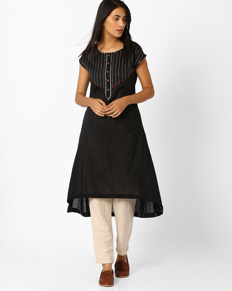 Flared Kurta With Embroidery By AJIO ( Black )