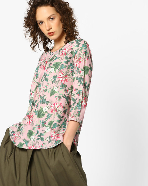 Floral Print Top With Curved Hemline By Project Eve WW Casual ( Pink )