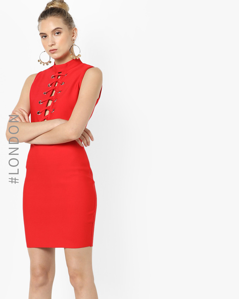 Lace-Up Front Bodycon Dress By Glamorous ( Red )