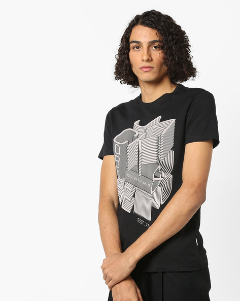 Graphic Print Slim Fit Cotton T-shirt By Jack & Jones ( Black )