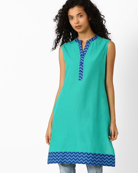 Printed Kurta With Mandarin Collar By AJIO ( Green )
