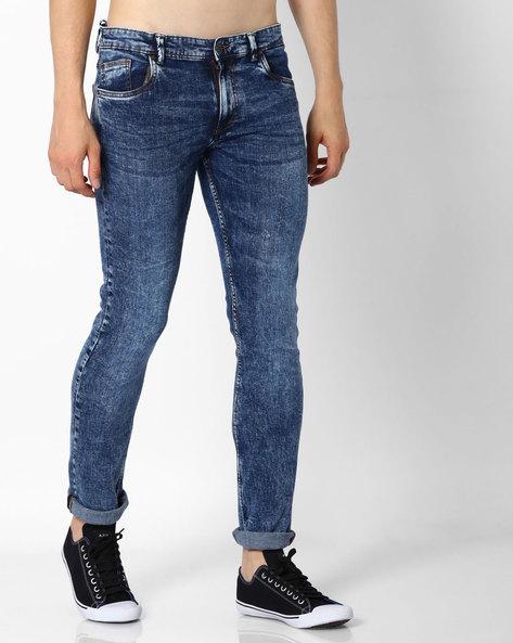 Acid Wash Skinny Jeans By DNM X ( Darkblue )