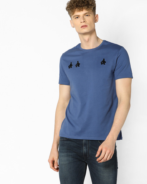 Crew-Neck T-shirt With Short Sleeves By AJIO ( Blue )