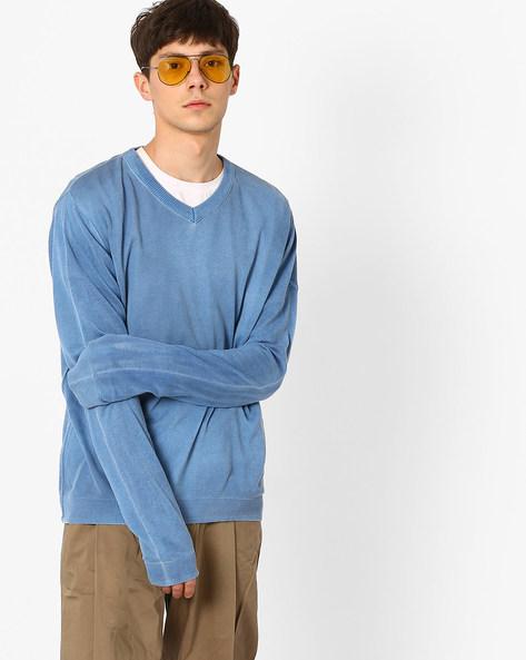 Spray-Dyed Crew-Neck Sweater By Puma ( Blue )