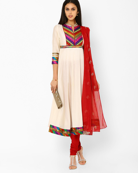 Churidar Kurta With Dupatta By AJIO ( White )