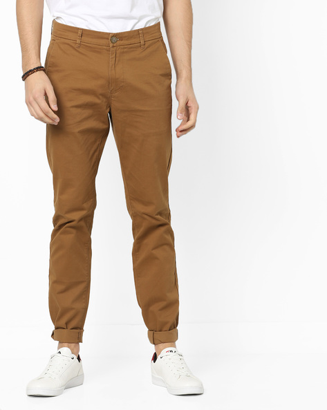 Slim-Fit Flat-Front Trousers By SPYKAR ( Khaki )