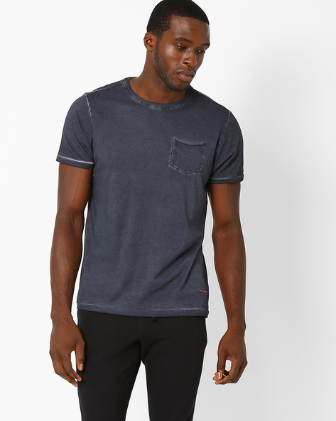 Crew-Neck T-shirt With Patch Pocket By AJIO ( Grey )