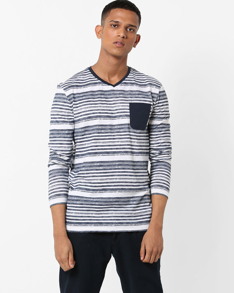 Striped V-neck T-shirt With Contrast Patch Pocket By VOI JEANS ( Multi )