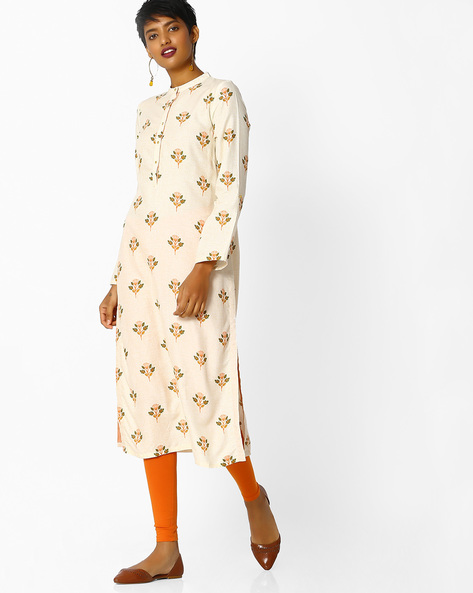 Floral Print Kurta With Mandarin Collar By W ( Offwhite )