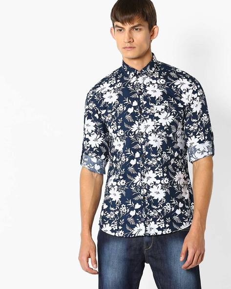 Cotton Floral Print Shirt By NETPLAY ( Green )