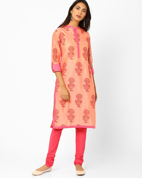 Chanderi Kurta With Floral Block Print By AJIO ( Peach )