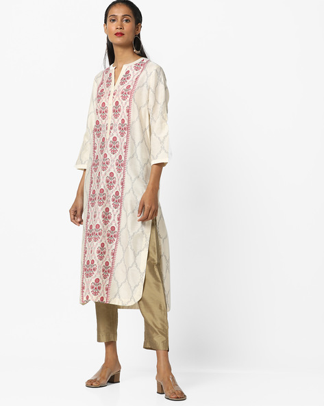 Floral Print Straight Kurta By Melange By Lifestyle ( Offwhite )